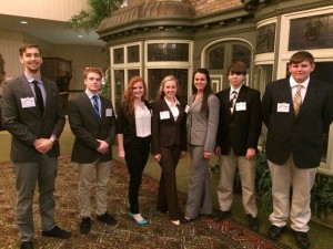 CEO team members attended a half-day student-run business conference for 800 people in Effingham, IL.  They also heard speakers at the Midland Institute of Entrepreneurship and ate at the FireFly Grill.  Samantha Smith was unable to attend.  From left to right: Adam Jung, Logan Jerolds, MacKenzie Conway, Meghan Smith, Kaitlin McWhorter, Austin Klasner and Austin Beszczynski.